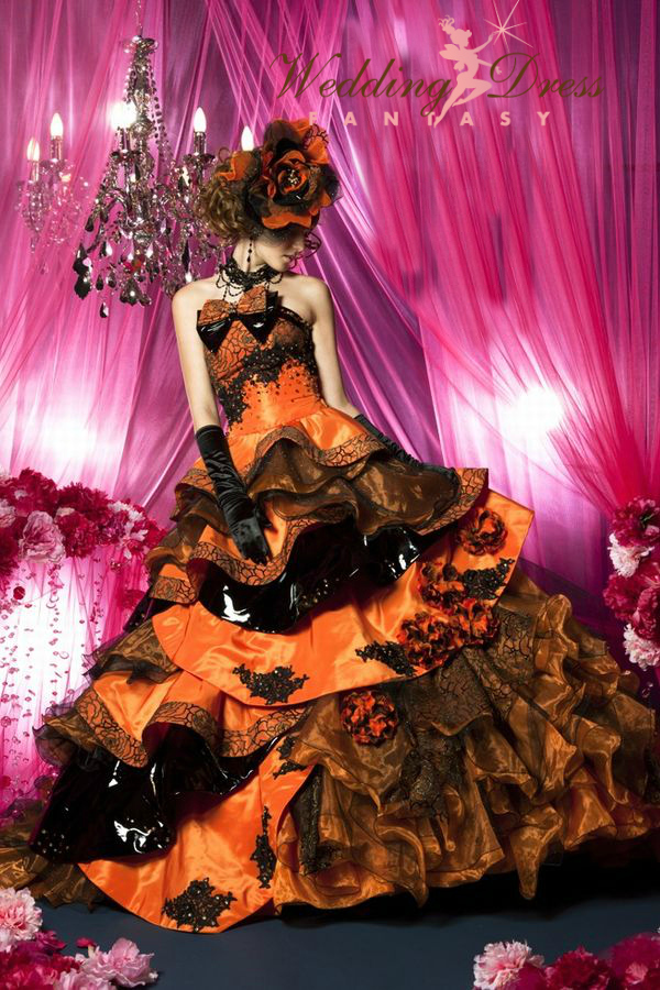 Halloween wedding dress in orange and black wedding dress halloween wedding dress cp901 262211415218084g junglespirit Image collections